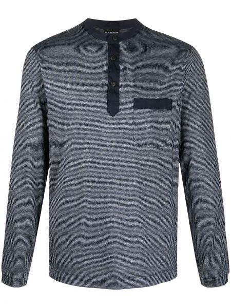 Niebieski t-shirt z długimi rękawami bawełniany Giorgio Armani