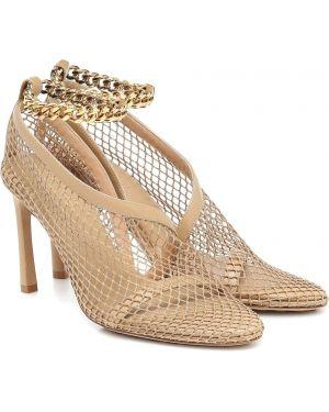 Туфли на каблуке без каблука жёлтые Bottega Veneta