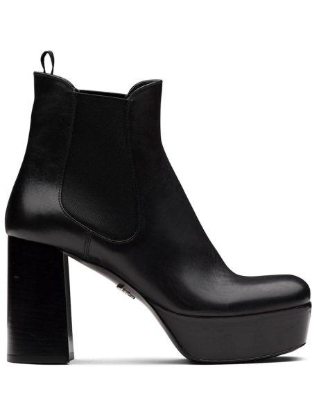 Włókienniczy czarny buty na platformie na platformie na pięcie Prada