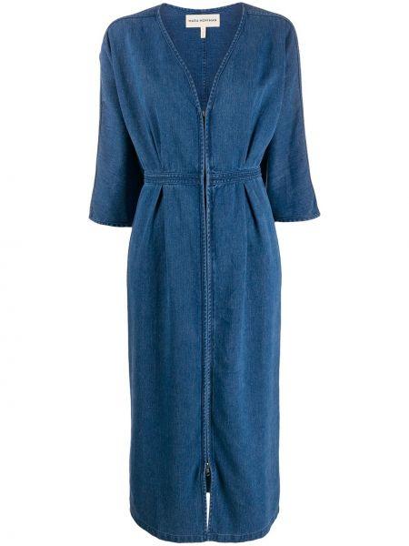 Синее плиссированное платье мини с V-образным вырезом на молнии Mara Hoffman