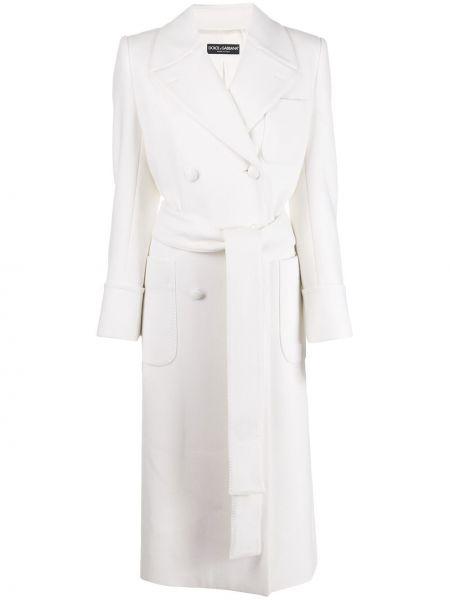 Белое шерстяное пальто с поясом с лацканами Dolce & Gabbana
