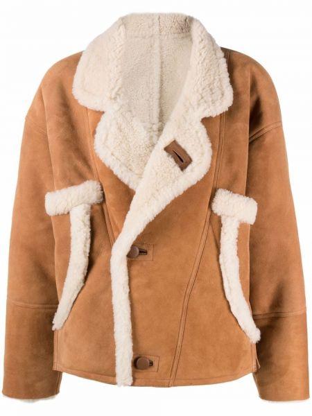 Коричневая длинная куртка Sandro Paris