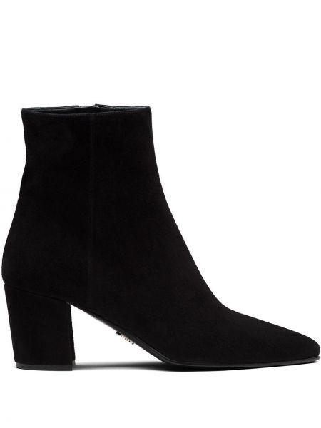Zamsz czarny buty na pięcie z ostrym nosem na pięcie Prada