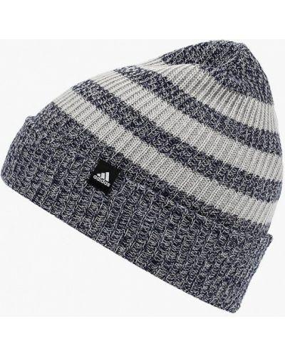 Синяя шапка осенняя Adidas
