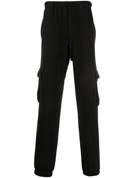 Czarne spodnie bawełniane z printem Siberia Hills