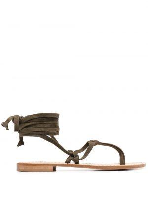 Кожаные сандалии с завязками на плоской подошве P.a.r.o.s.h.