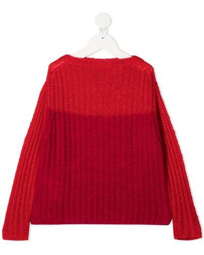 Красный с рукавами акриловый джемпер с вышивкой Marni Kids