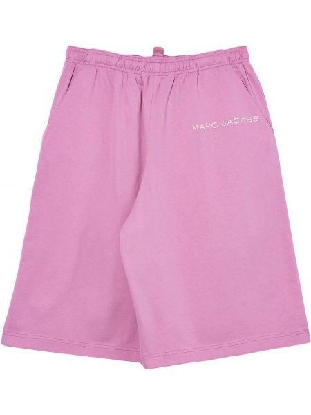 Розовые хлопковые шорты с карманами с вышивкой Marc Jacobs