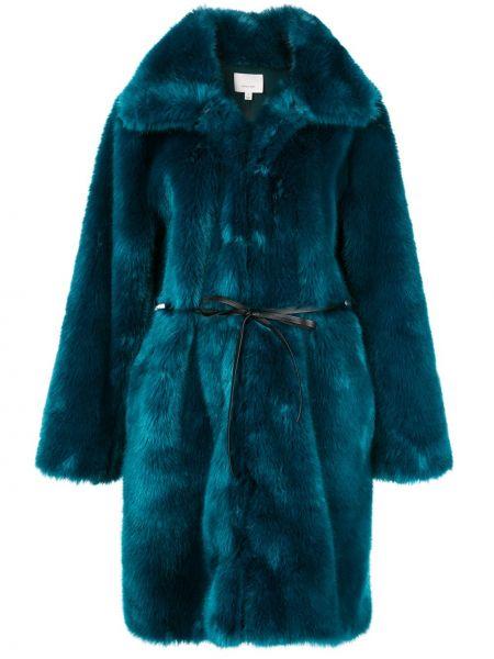 Синее длинное пальто с воротником Cinq A Sept