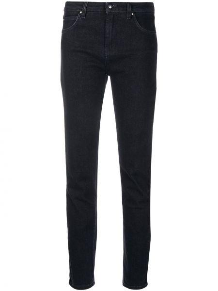 Хлопковые зауженные черные джинсы-скинни с карманами Fay