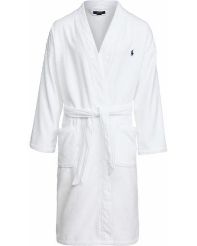 Biały długi szlafrok bawełniany z haftem Polo Ralph Lauren Underwear