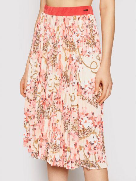 Różowa spódnica plisowana z printem Marciano Guess