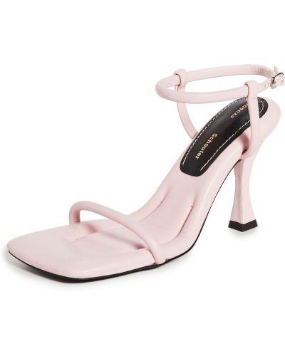 Sandały skórzane na obcasie - różowe Proenza Schouler