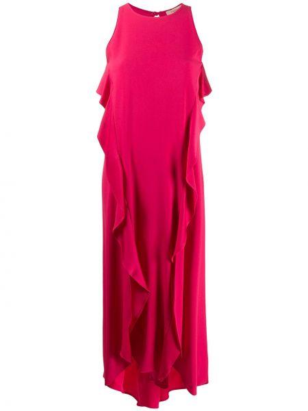 Розовое платье макси с оборками без рукавов с вырезом Twin-set