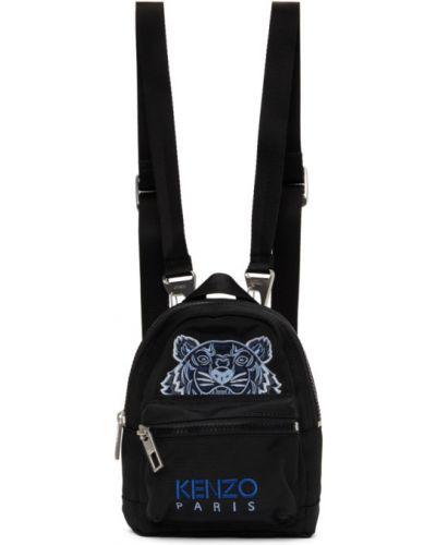 Черный рюкзак с вышивкой с карманами Kenzo