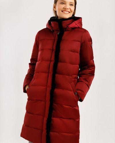 Кожаная куртка с капюшоном - красное Finn Flare