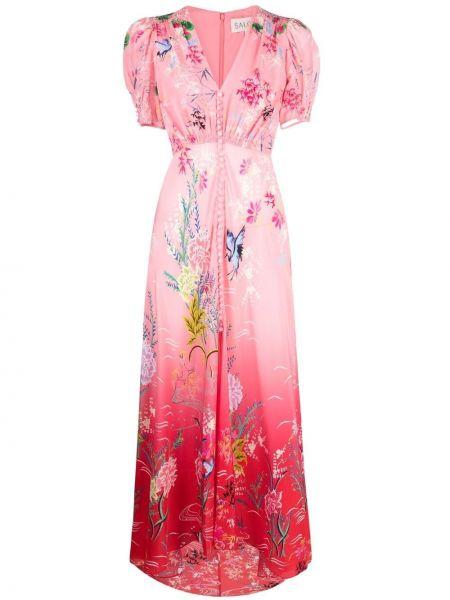 Różowa sukienka mini krótki rękaw z jedwabiu Saloni