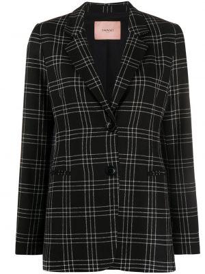 Шерстяной черный удлиненный пиджак в клетку Twin-set