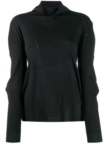 Czarna bluza z długimi rękawami z nylonu 132 5. Issey Miyake