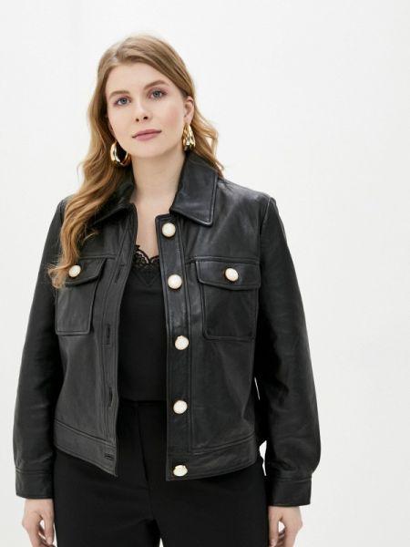 Кожаная куртка черная весенняя Violeta By Mango
