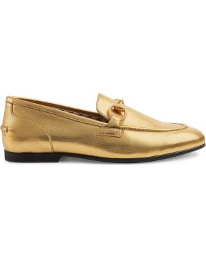 Золотистые желтые кожаные мокасины Gucci Kids