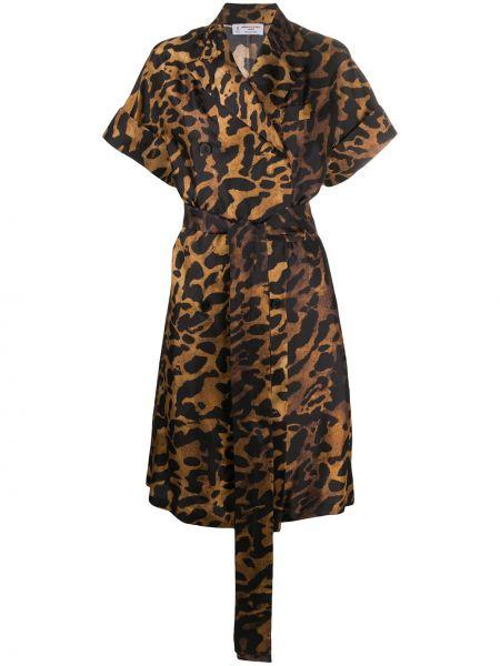Платье мини леопардовое двубортное Alberto Biani
