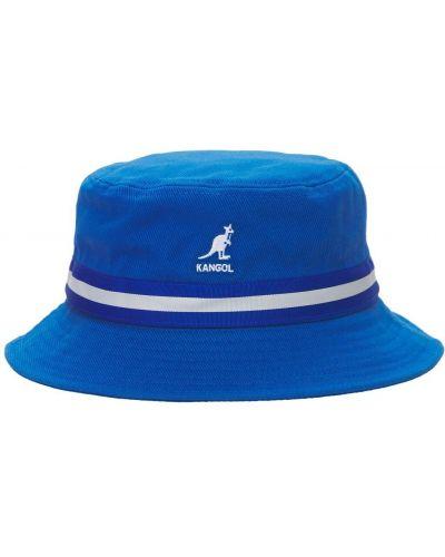Синяя шапка с вышивкой в полоску Kangol