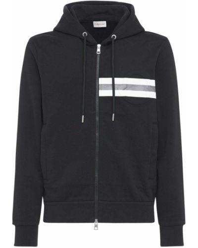 Czarny bawełna bawełna bluza z kapturem Moncler