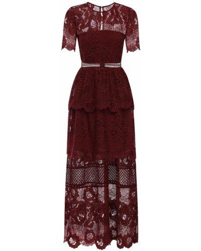 Приталенное с рукавами красное платье мини Self-portrait