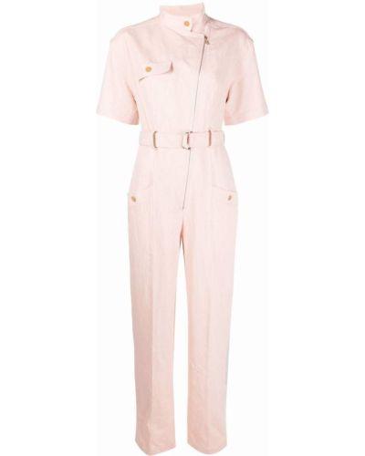 Льняной розовый комбинезон с шортами с карманами Sandro Paris