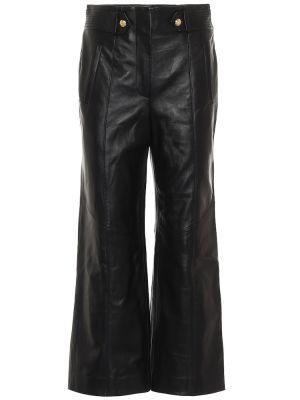 Кожаные черные брюки свободного кроя Veronica Beard