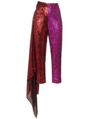 Fioletowe spodnie z wysokim stanem z jedwabiu Halpern
