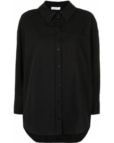 Хлопковая черная длинная рубашка с воротником Anine Bing