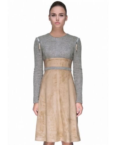 Платье осеннее бежевое Lattori