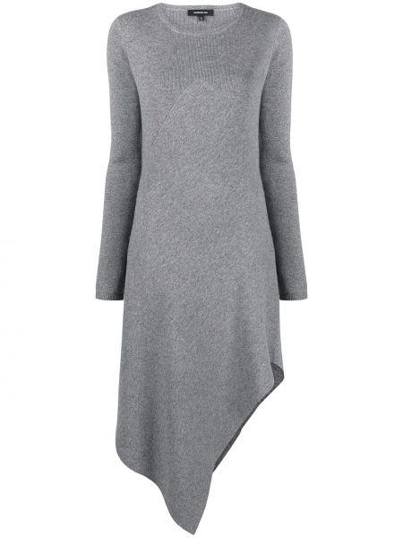 Z kaszmiru sukienka długa asymetryczna z długimi rękawami Barbara Bui