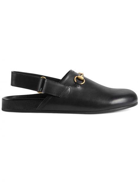 Czarne kapcie skorzane na rzepy Gucci