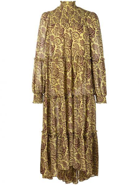 Платье миди с принтом - желтое Cinq À Sept