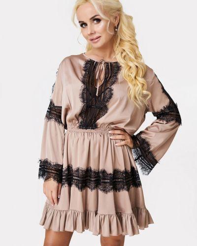 Вечернее платье осеннее бежевое Luxlook