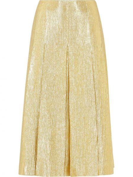 Желтая шелковая плиссированная юбка миди Fendi