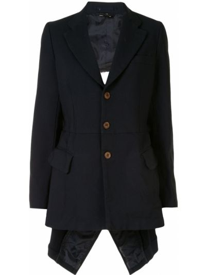 Синий удлиненный пиджак с карманами на пуговицах Comme Des Garçons