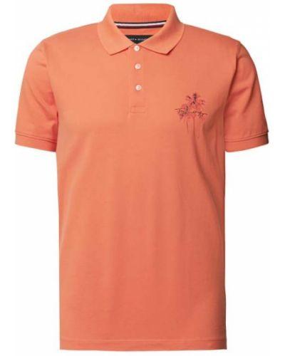 Pomarańczowy t-shirt z printem bawełniany Tommy Hilfiger