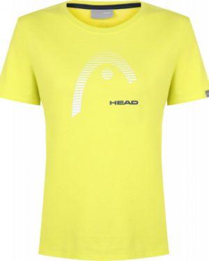 Хлопковая футбольная желтая прямая спортивная футболка Head