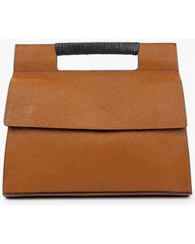Коричневая сумка через плечо из натуральной кожи Carla Ferreri