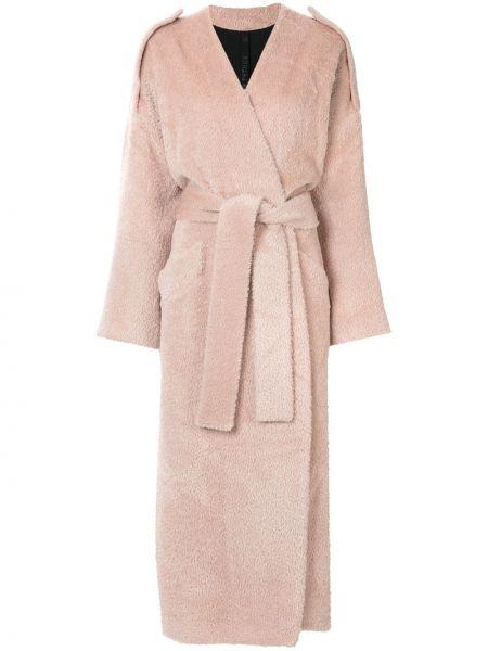 Розовое длинное пальто с капюшоном из альпаки Petar Petrov