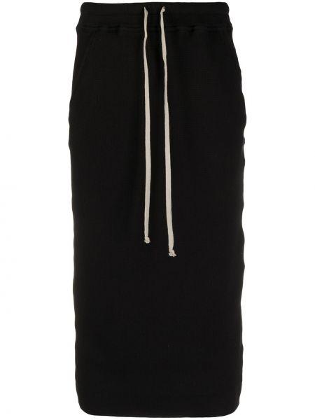 Ватная с кулиской хлопковая черная юбка карандаш Rick Owens Drkshdw