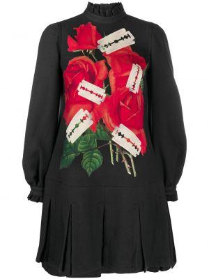 Шерстяное с рукавами черное платье макси Undercover