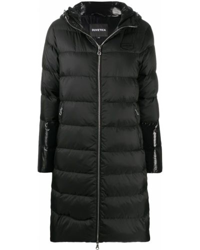 Черное пуховое пальто классическое с капюшоном Duvetica