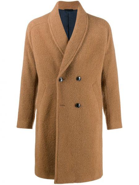 Brązowy płaszcz wełniany z długimi rękawami Mp Massimo Piombo