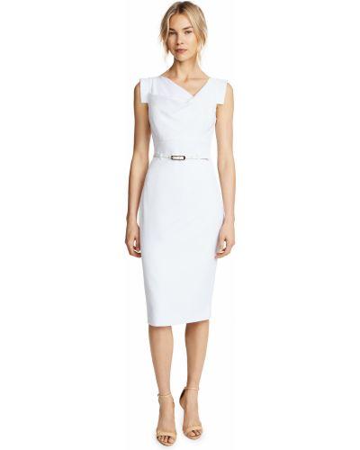 Кожаное белое платье-футляр с поясом Black Halo