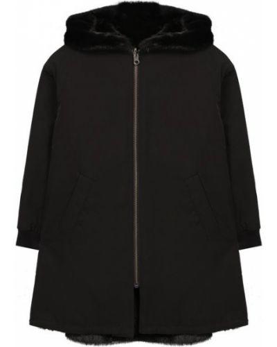 Пальто черное коричневый Yves Salomon Enfant